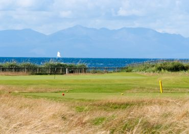 The course at Royal Troon with views of Arran.